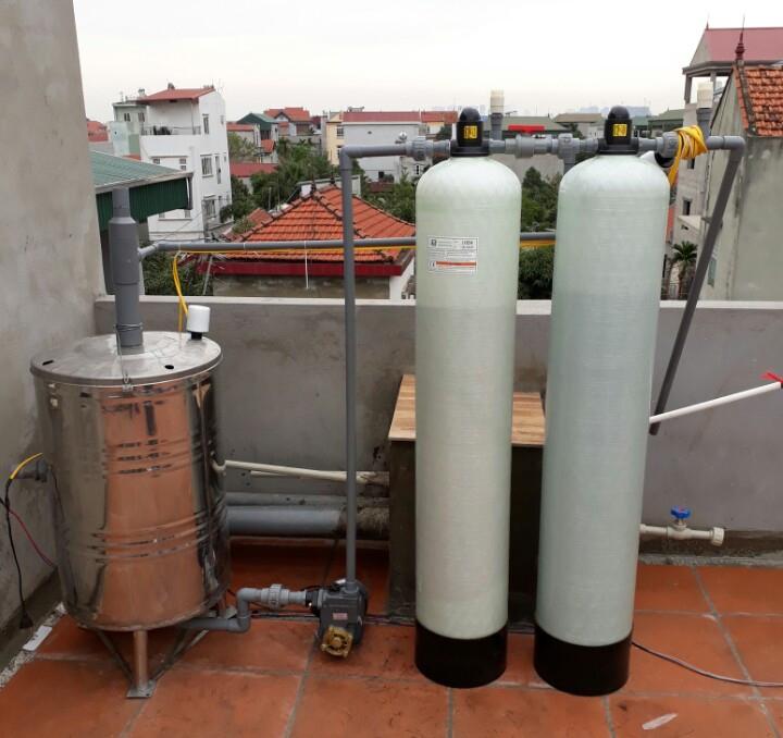 Hệ thống lọc nước giếng khoan DN02 công suất 1m3/h được lắp đặt tại Hà Đông - Hà nội